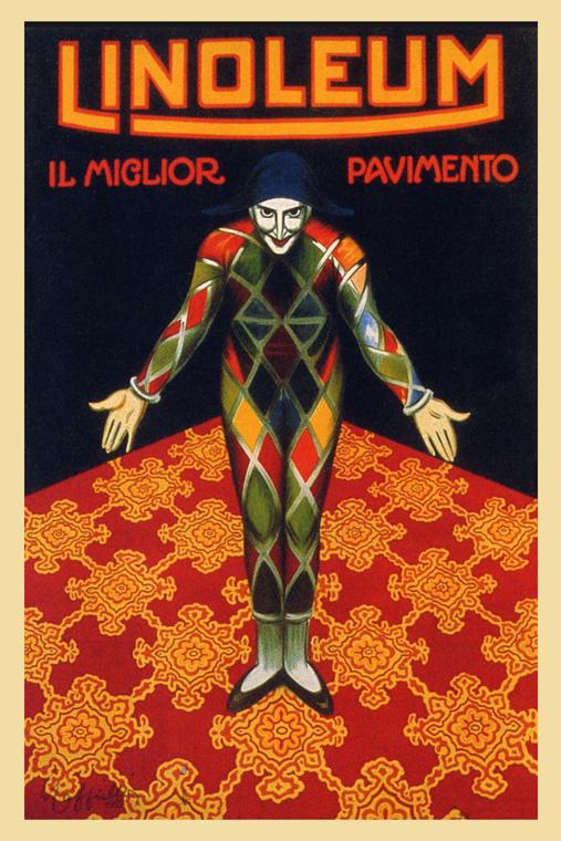 Repro Italian Antique Tarot Minchiate Cards 1 790: Pierrot Linoleum Floor Covering Italy Italian Vintage