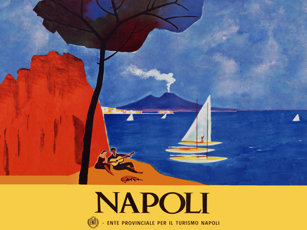 napoli italy guitar dog music beach art deco 12x16 travel