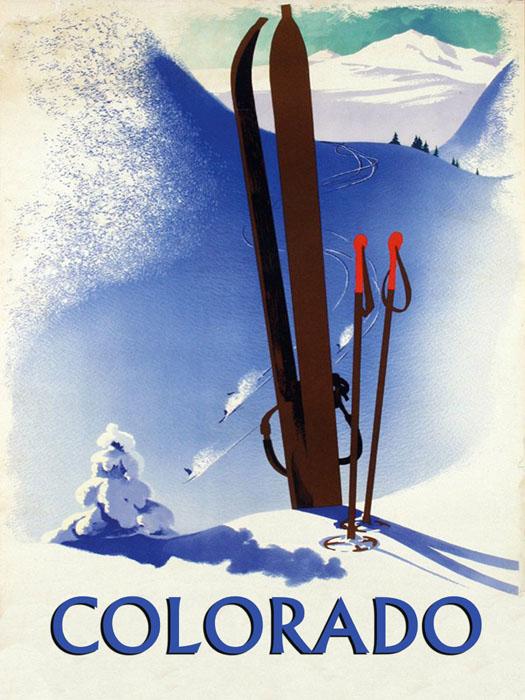Colorado Ski Winter Race Sport Skis Mountain Vintage Poster Repro ...