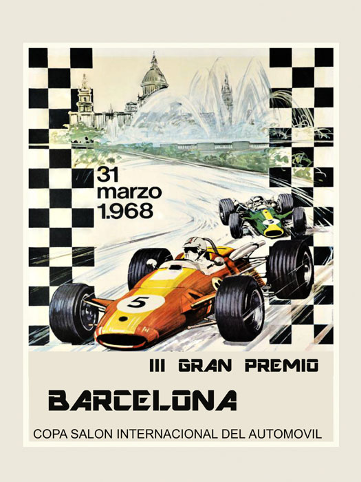 Barcelona Car Race Grand Prix Vintage Poster Repro Shipped Rolled FREE SHIP USA