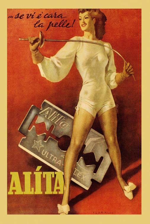 Fashion Fencing Sport Alita Razor Ad France Vintage Poster Repro FREE SHIP in US