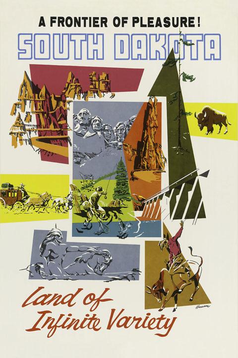 South Dakota Horse Rushmore Buffalo Indian Travel Vintage Poster Repro FREE SHIP