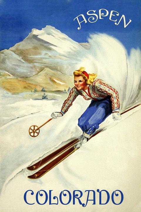 Colorado Nightlife Ski Skiing Winter Sport USA US Vintage Poster Repro FREE S//H