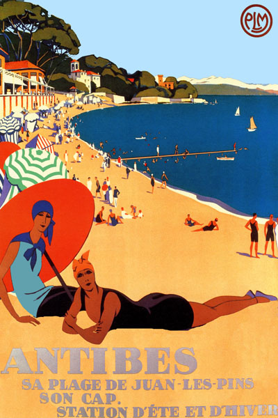Antibes Juan Les Pins Beach French Vintage Travel Poster