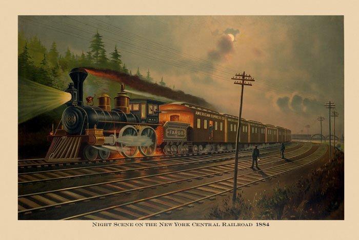 1884 Train Night Scene New York Central Railroad Vintage Poster Repro FREE S//H