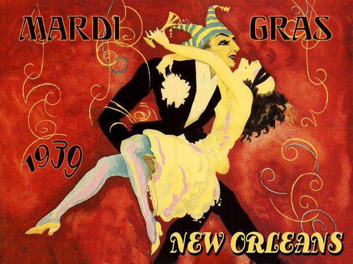 Mardi Gras Carnival New Orleans Louisiana Dancers Vintage Poster